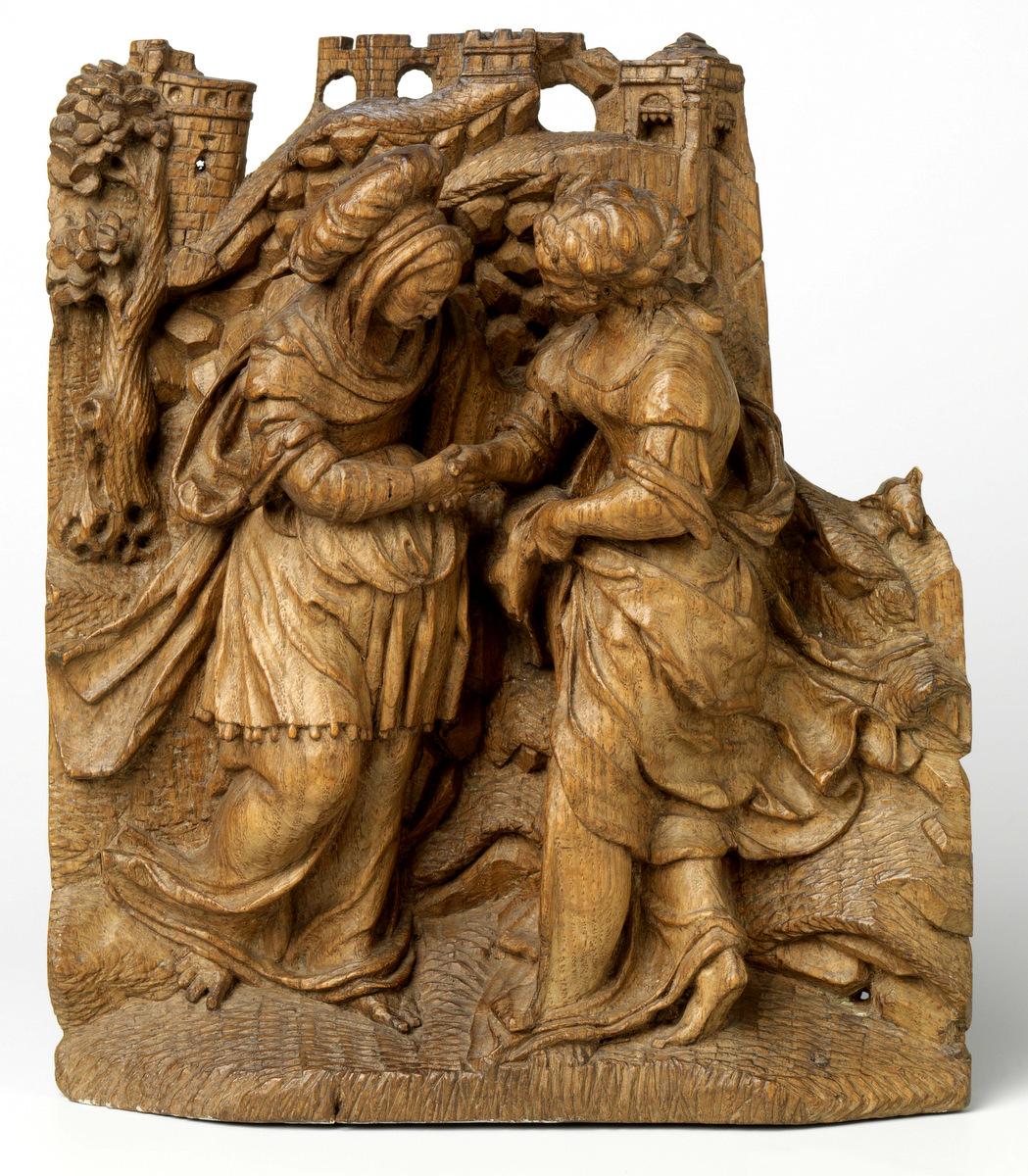 Відвідини: зустріч Марії та Єлизавети, автор невідомий, барельєф, дуб, 1525 - 1549рр., Голландія